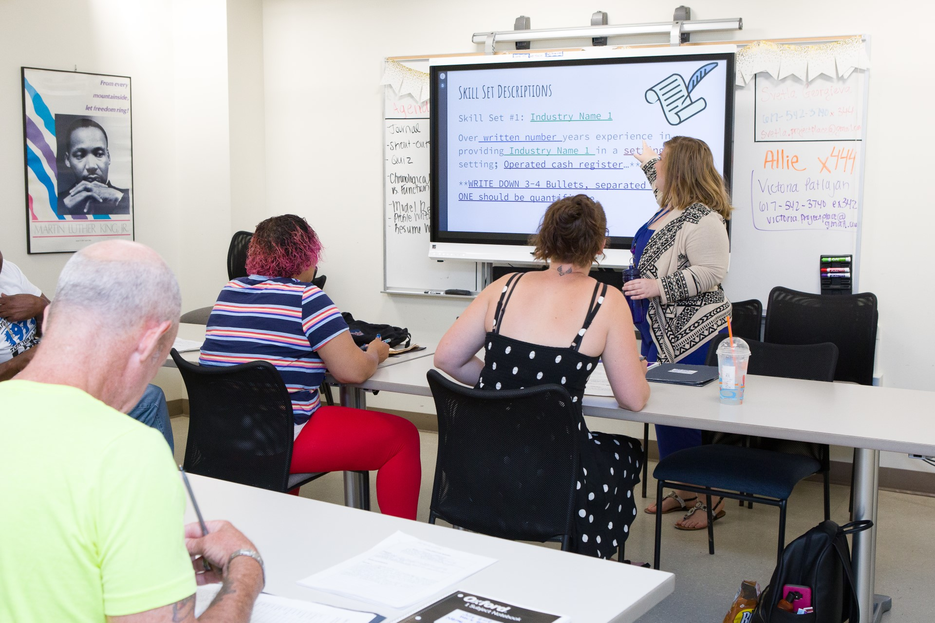 Victoria teaching a Work Ready Class with the smartboard