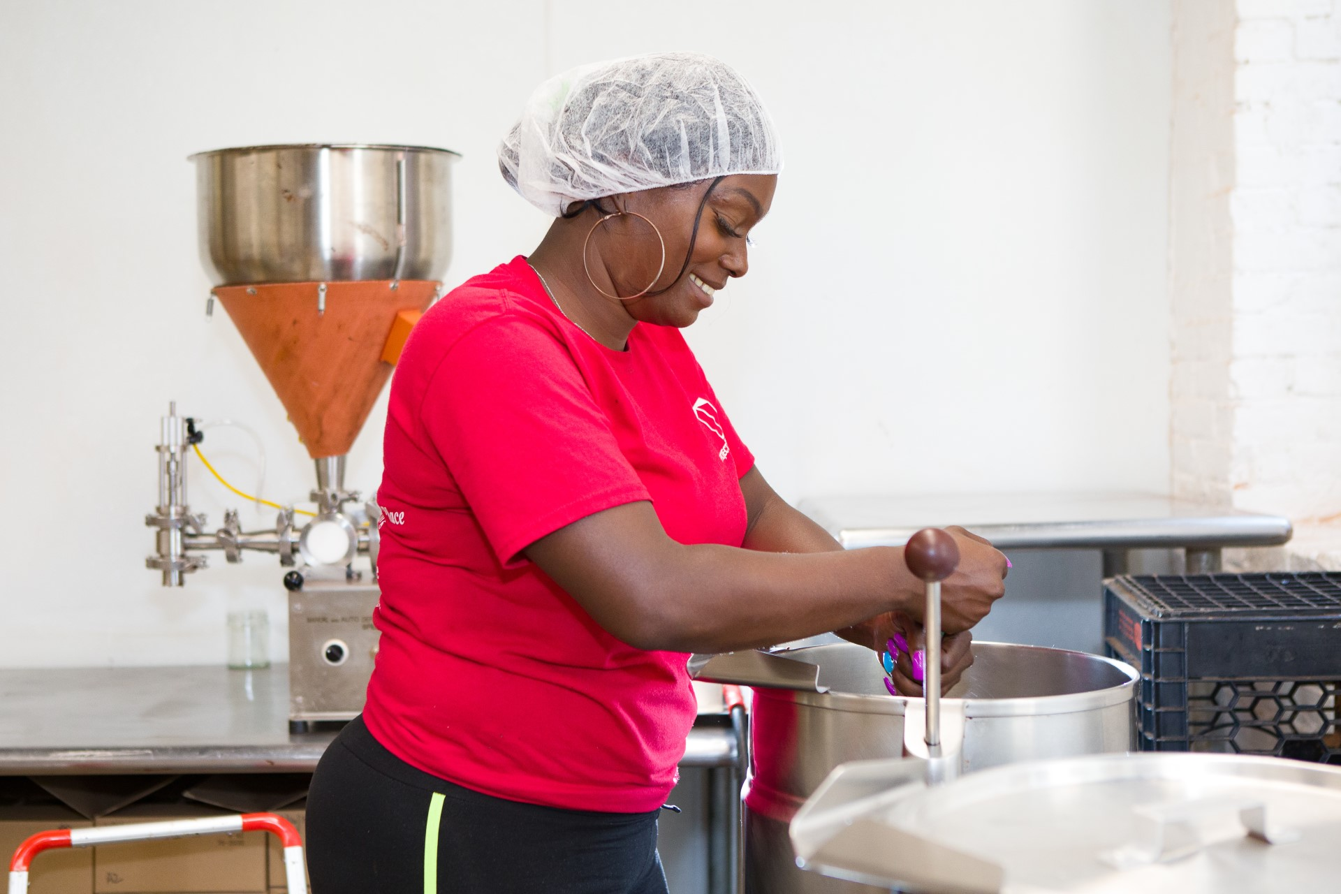 a client making fudge in Working Opportunities for Women